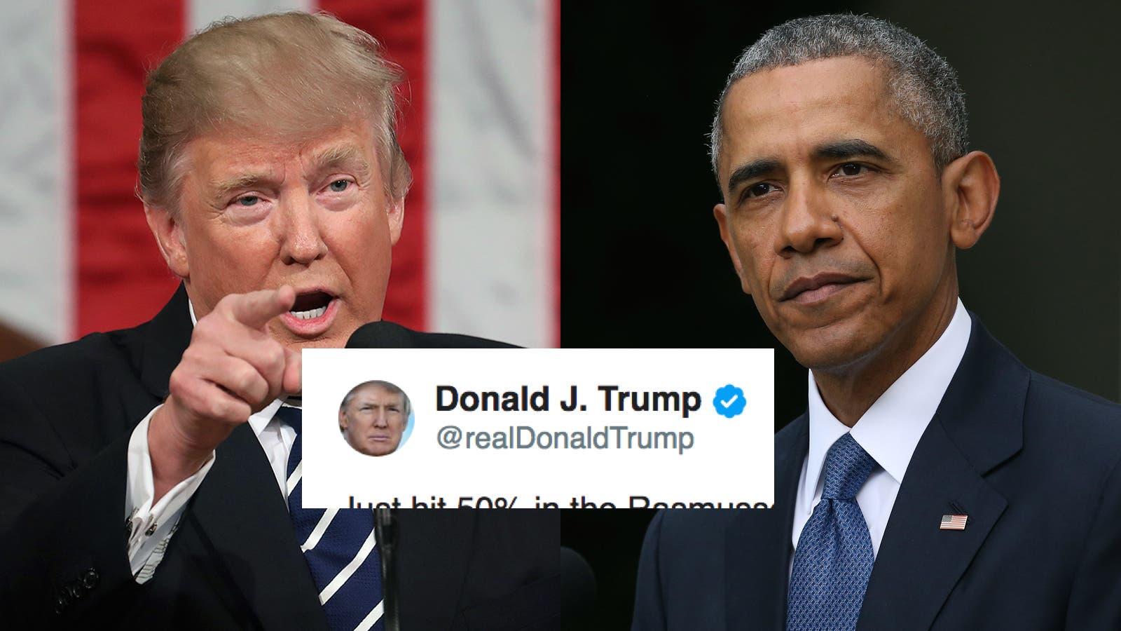 Trump just took an unprovoked swipe at Obama in self-congratulatory tweet