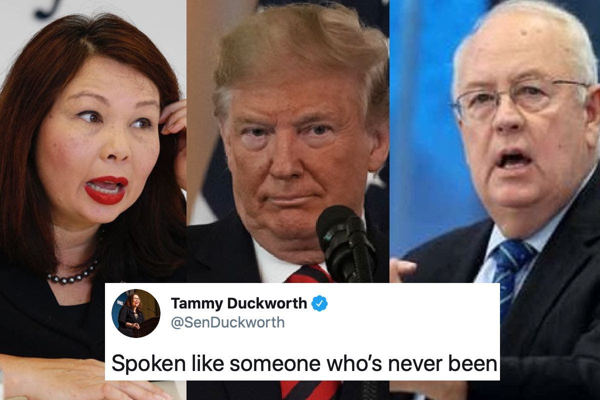 """""""Just like his boss"""": Sen. Duckworth slams 4-F Ken Starr as he compares impeachment to war"""